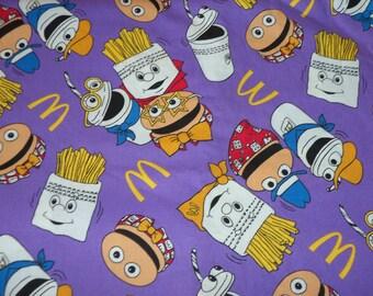McDonalds Burgers & Fries Fabric Purple Background By The  Fat Quarter New BTFQ