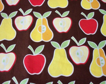 Apples & Pears  Fabric On a Brown Background 2006 Release By The Fat Quarter New BTFQ