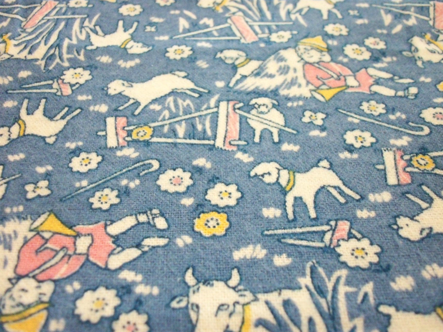 little boy blue fabric flannel come blow your horn sheeps in