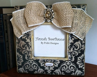 Photo Frame Bow Burlap French Ebony Ivory Jewel Wedding Paris Fleur de lis Personalize Holiday Gift Idea Travel Frame with plaque