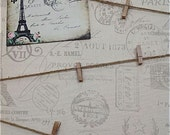 French Memo Board - Paris Gray Script - Fabric Message Board, Office Decor, Wall Decor, Kitchen, Nursery, Girls Room