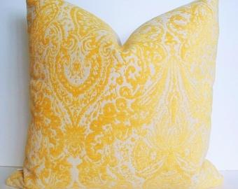 Yellow Velvet Pillow Yellow Cut Chenille Pillow Gilsey Canary Decorative Pillow Cover 16 18 20