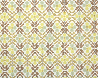 Retro Wallpaper by the Yard 60s Vintage Wallpaper - 1960s Yellow and Gray Flowers and Brown Leaves