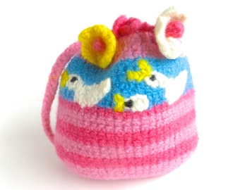 "Felt bag/Felt pouch ""Goslings"", pure new wool, crochet, felted, pink, raspberry, turquoise, white, sunny yellow, goose, OOAK, one of a kind"
