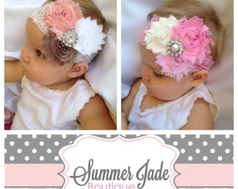 Flower headbands - set of 2 baby headbands - flower girl headband - everyday wear