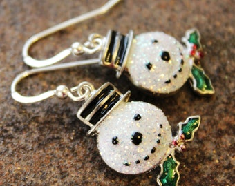 Snowman Earrings, Christmas, Winter, Jewelry, Jewellery, Sterling Silver, Fun, Sparkly, Women's Gift, Handcrafted, Holiday