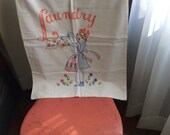 Vintage laundry bag embroidery art