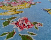 Vintage Linen Tea Towel in turquoise and pink by Lamont Made in Ireland