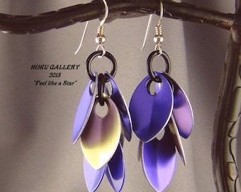"""Purple & Gold Anodized Aluminum Dragon Scales Shaggy Earrings Royal Scale - 2 1/2"""" - Hand Crafted Artisan Jewelry"""