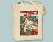Cycles Perfecta Ad, Mucha, Bicycles, Vintage Ad Canvas Tote - Selection of Sizes Available