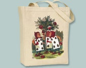 Alice In Wonderland Original COLOR Illustration Card Guards Canvas Tote - Selection of sizes available
