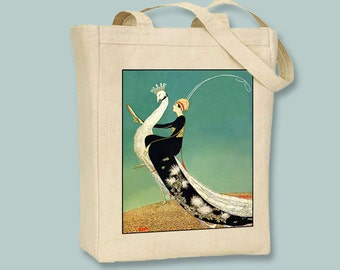 Woman and Peacock  Vintage 1920s illustration BLACK or NATURAL Canvas Tote   - Selection of sizes available