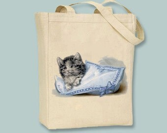 Kitten Cat Playing in a Pillow Vintage Image on Canvas Tote -- Selection of  sizes available