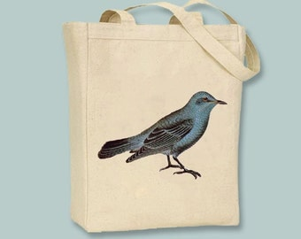 Sweet Vintage Bluebird Illustration Canvas Tote -- Selection of tote sizes, personalization available