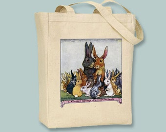 Vintage Easter Bunny Family Portrait Illustration Natural or Black Canvas Tote -- Selection of sizes available