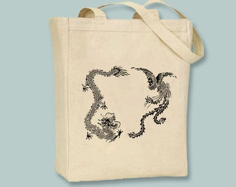Ancient Chinese Dragon and Phoenix Engraving Canvas Tote - Selection of  sizes available, image in ANY COLOR