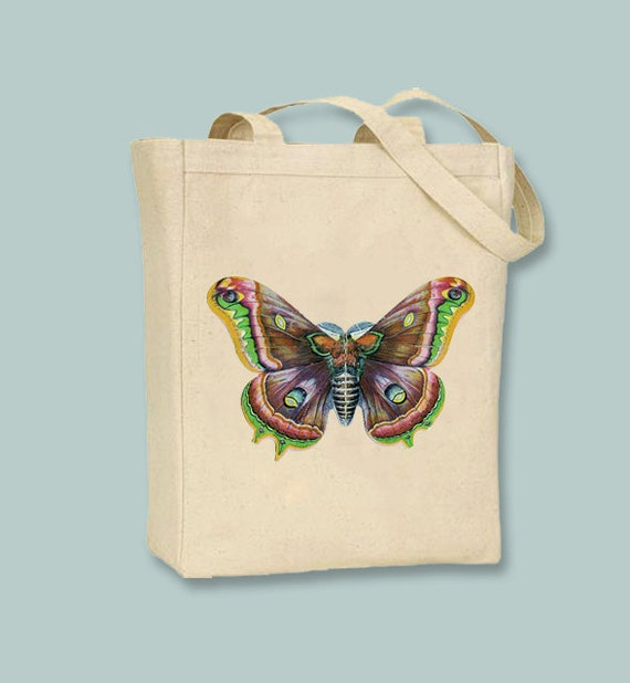Fabulous Victorian Butterfly illustration on a Natural or Black Canvas Tote -- Selection of  sizes available