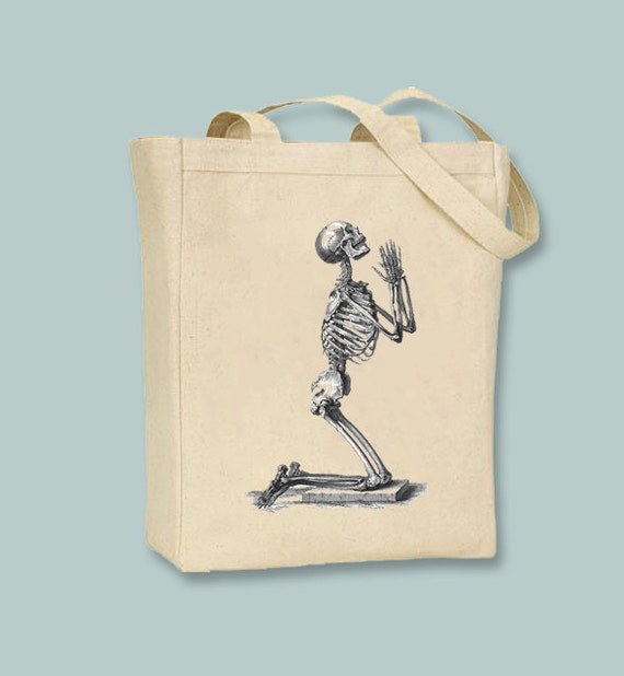 Praying Human Skeleton Image Canvas Tote  - Selection of sizes available, ANY COLOR image