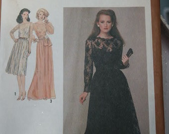 UNCUT Vintage 1979 Women's Simplicity Special Occasion Dress with Slip Dress Underneath 9277 Sewing Pattern Size 16 Bust 38