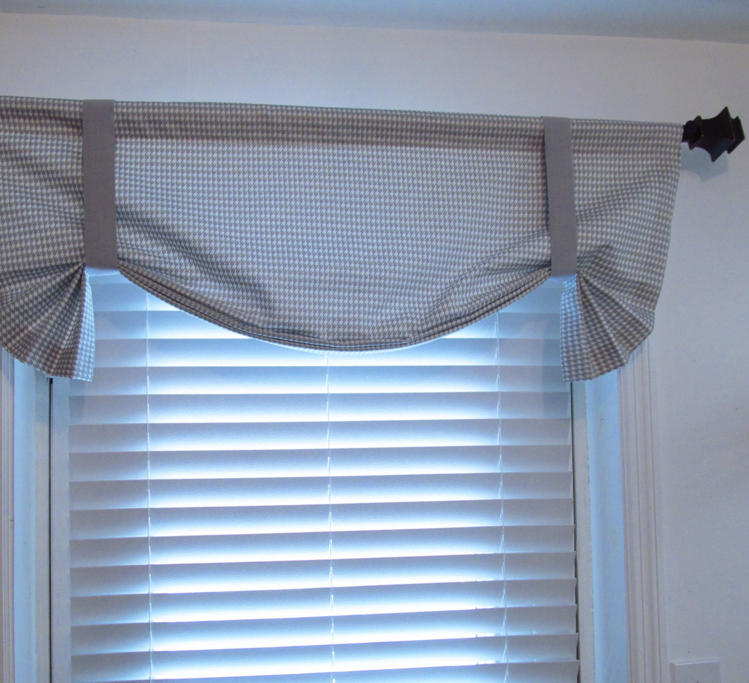 tie up curtain valance gray white houndstooth by