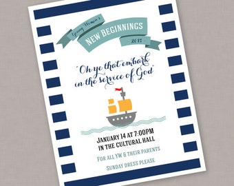 "PRINTABLE Custom YW New Beginnings Nautical Invitation ""Oh ye that embark in the service of God"" - PDF file"