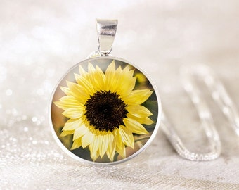 Silver Sunflower Necklace - Sterling Silver Flower Necklace, Real Silver Floral Jewelry, Sterling Silver Sunflower Jewelry, Garden Flower