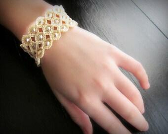 Bohemian Jewelry, Boho Crochet Bracelet or Cuff, Creamy White shades - adjustable