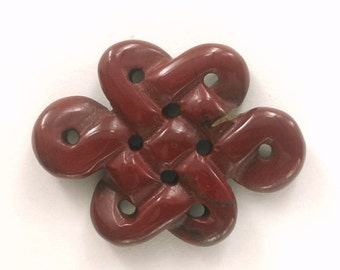 Celtic Knot - carved Red Jasper large pendant . dark red celtic stone knot . mystic knot