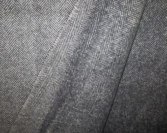 "1960's Jacket Weight Wool Yardage // Wool Fabric // Herringbone // Pendleton Mills...60"" wide X 110"" long"