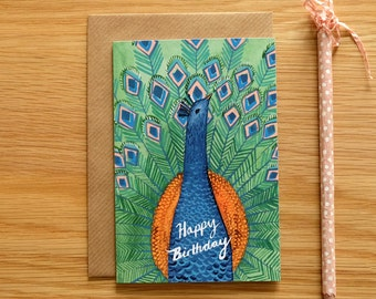 Illustrated Peacock Birthday Card