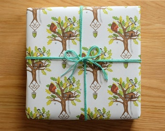 2 sheets of Tree House printed eco friendly Gift Wrap