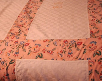 Beautiful Handmade Vintage French Tablecloth/ BedSpread with Vintage Floral Fabric and Monogramme