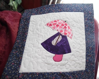 Quilted Applique April Showers SunBonnet Sue