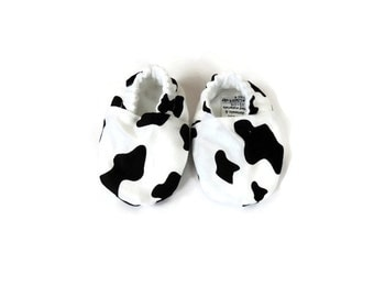 Crib Shoes - Cow Print  - Infant Unisex - Baby Shower Gift
