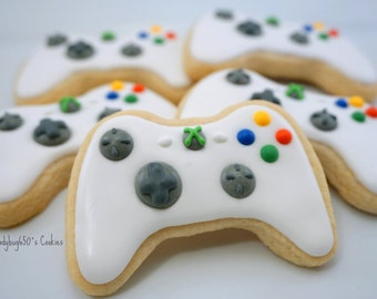 12 Xbox inspired game controller cookies, handmade & iced