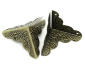 8 Bronze Metal Vintage Style Box Corner Findings, 36mm x 19mm, fin0348a