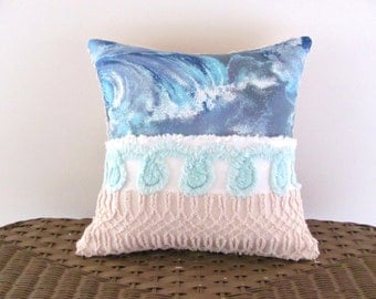 Turquoise blue chenille pillow cover, STORM, aqua cushion cover, ocean waves pillow, beach cottage chic pillow case, nautical pillow,