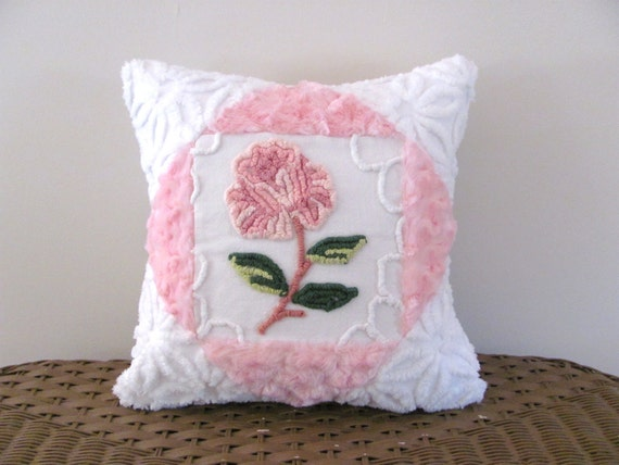 pink chenille pillow cover ONE ROSE cottage chic shabby style