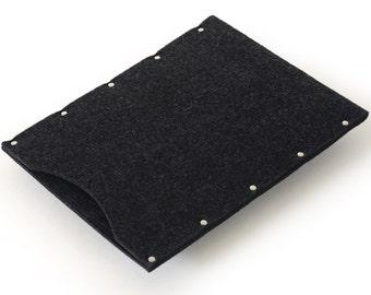 MacBook 12 inch Case, Sleeve, Cover. Black synthetic felt bag handmade by SleeWay