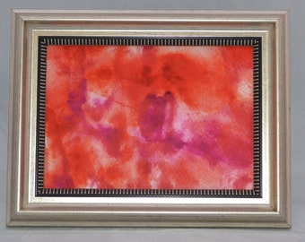 "Original Painting - 5"" x 7"" - Abstract - Pink and Orange Watercolor Painting - 2015-15"