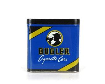 Bugler Cigarette Case Tin, Vintage Tobacco Tin, Advertising Tin