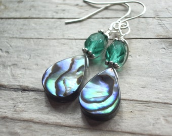 Abalone Earrings wire wrapped silver tear drop paua shell crystal dangle earrings