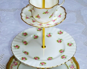 Roses White and Gold Cakestand 3 Tier Vintage China Tea Stand for Weddings, Tea Parties, Displays, Showers, Jewelry Stand FREE shipping