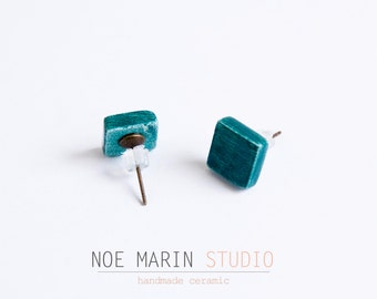 Tiny earring stud handmade ceramic, Cute small earring studs, Ceramic studs, Square earrings, Ceramic jewelry for her ,Spring  trends