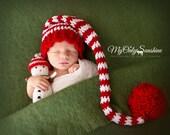 Newborn Elf Hat, Newborn Christmas Hat, Newborn Santa Hat, Stocking Cap, Long Tail Hat, Infant Pom Pom Hat, Christmas Baby Hat, Striped Hat