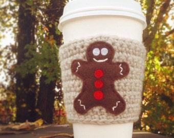 Gingerbread man Coffee Cup Cozy, Crochet Coffee Sleeve, Reusable Coffee Cozy, Holiday coffee cozy.