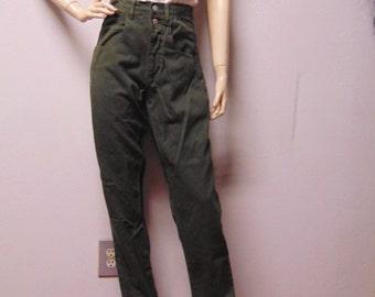 """Vintage 80's Guess Dark green denim jeans  High Waisted  --Waist 26.5"""""""