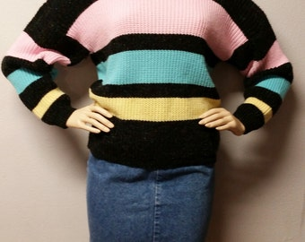 Vintage 80's Slouchy Striped sweater Sz Medium