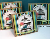 Mini note cards (set of 4) Bird in cage tweet tweet