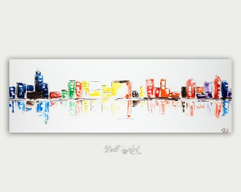 Original Chicago Painting, Modern & Abstract City Art, Chicago Skyline, Colorful Canvas, Home Decor